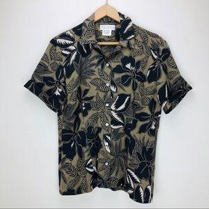 VTG Escada Silk Button Front Hawaiian Shirt Cuffed